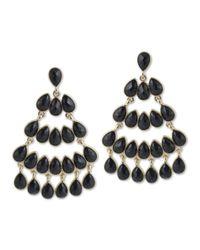 Kenneth Jay Lane | Black Chandelier Pierced Earring | Lyst