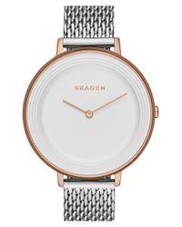 Skagen - Metallic 'ditte' Round Textured Dial Watch - Lyst