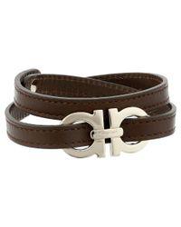 Ferragamo Brown Double Wrap With Gancini Bracelet