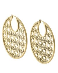 Michael Kors | Metallic Goldtone Filigree Hoop Earrings | Lyst