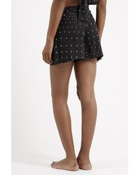 TOPSHOP - Black Arrow Print High-Waisted Pyjama Shorts - Lyst