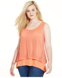 Style & Co. | Orange Plus Size Layered Eyelet Tank Top | Lyst