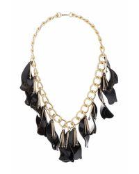 TOPSHOP | Black Petal Drops Necklace | Lyst