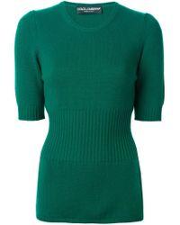 Dolce & Gabbana - Green Short Sleeve Sweater - Lyst
