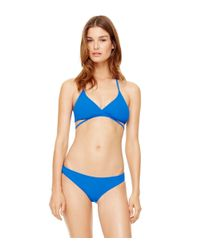 Tory Burch - Blue Solid Wrap Top - Lyst
