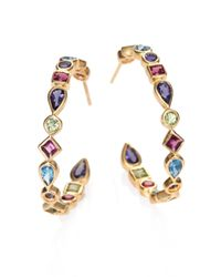Mija | Multicolor London Blue Topaz, Peridot, Iolite & Pink Garnet Hoop Earrings/1.25 | Lyst