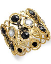 INC International Concepts | Black Gold-Tone Jet Stone Stretch Bracelet | Lyst