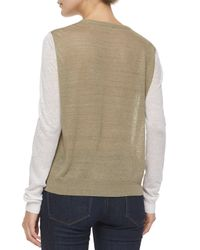 Theory - Gray Mayolee Two-tone Sag Harbor Sweater - Lyst