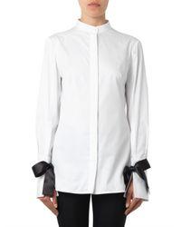 Alexander McQueen - White Bow-fastening Cuffs Cotton Shirt - Lyst