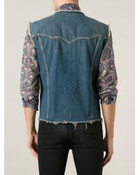 Saint Laurent Blue Sleeveless Denim Jacket for men
