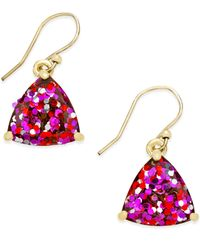 kate spade new york | Metallic Gold-tone Glitter Drop Earrings | Lyst