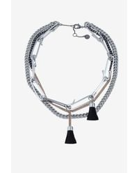 French Connection | Metallic Multi Row Necklace | Lyst