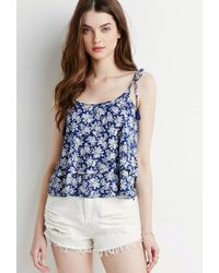 Forever 21 | Blue Tassled Floral Flounce Cami | Lyst