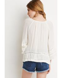 Forever 21 | Natural Crocheted Pintuck Peasant Top | Lyst