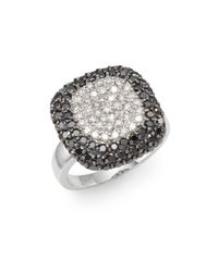 Effy | Metallic Final Call White Diamond, Black Diamond & 14k White Gold Pavé Cushion Ring | Lyst