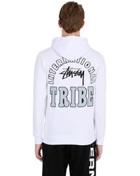 Stussy White Hooded Zip-up Cotton Blend Sweatshirt for men