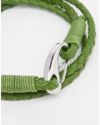 Seven London - Green Wraparound Plaited Bracelet for Men - Lyst