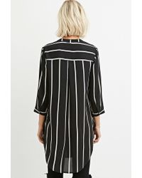 Forever 21 | Black High-slit Striped Shirt | Lyst
