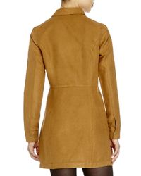 Re:named - Natural Faux Suede Dress - Lyst