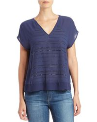 DKNY Blue Beaded Crepe Top