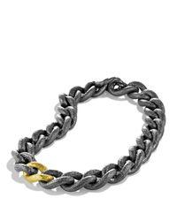 David Yurman Metallic Black & Gold Curb Link Necklace
