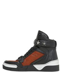 Givenchy Black Tyson Grained Leather High Top Sneakers for men
