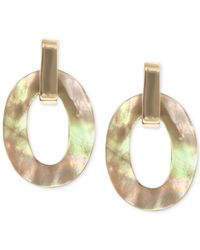 Anne Klein | Metallic Gold-tone Brown Mother-of-pearl Clip-on Drop Earrings | Lyst