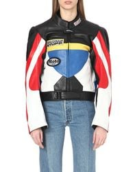 Vetements Multicolor Colour-block Leather Biker Jacket