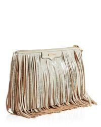 Rebecca Minkoff Gray Finn Metallic Fringe Crossbody Bag