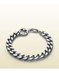 Gucci | Metallic Silver Bracelet With Interlocking G Detail | Lyst