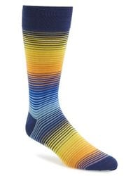 Bugatchi | Blue Stripe Cotton Blend Socks for Men | Lyst