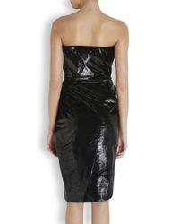Lanvin - Black Ruched Lamé Velvet Dress - Lyst
