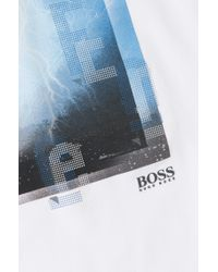 BOSS Green White T-shirt 'tee 4' In A Cotton Blend for men