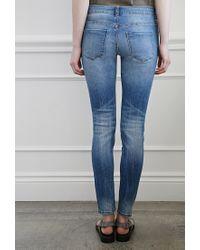 Forever 21 | Blue Whiskered Skinny Jeans | Lyst