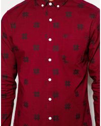 ASOS | Red Christmas Shirt In Fairisle Print With Long Sleeves for Men | Lyst