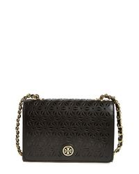 Tory Burch Black 'Robinson' Perforated Leather Shoulder Bag