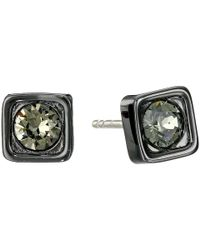COACH - Black Pave Square Stud Earrings - Lyst