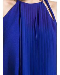 Mango - Blue Pleated Layer Dress - Lyst