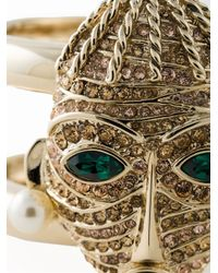 Roberto Cavalli | Metallic Embellished Mask Rigid Cuff | Lyst