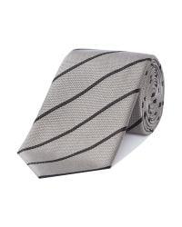 Armani - Gray Stripe Tie for Men - Lyst