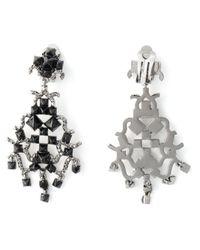 Valentino Black 'Rockstud' Chandelier Earrings