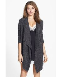 Barefoot Dreams | Brown Bamboo Chic Drape Front Cardigan | Lyst