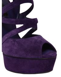 Casadei Purple 150mm Blade Suede Cage Sandals