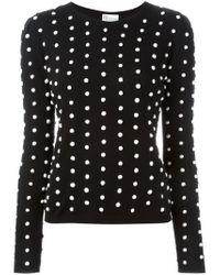 RED Valentino - Black Polka Dot Pom-pom Sweater - Lyst