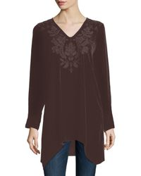 Johnny Was | Brown Holland Embroidered Velvet Tunic | Lyst