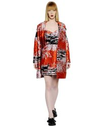 MSGM - Red Oversized Techno Blend Jacquard Coat - Lyst