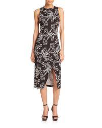 Tanya Taylor - Black Gidget Printed Midi Dress - Lyst