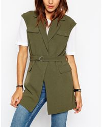 ASOS | Green Sleeveless Trench Jacket | Lyst