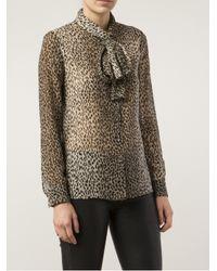 Saint Laurent - Multicolor Leopard Print Blouse - Lyst