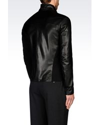 Emporio Armani | Black Full Zip Blouson In Napa Lambskin for Men | Lyst